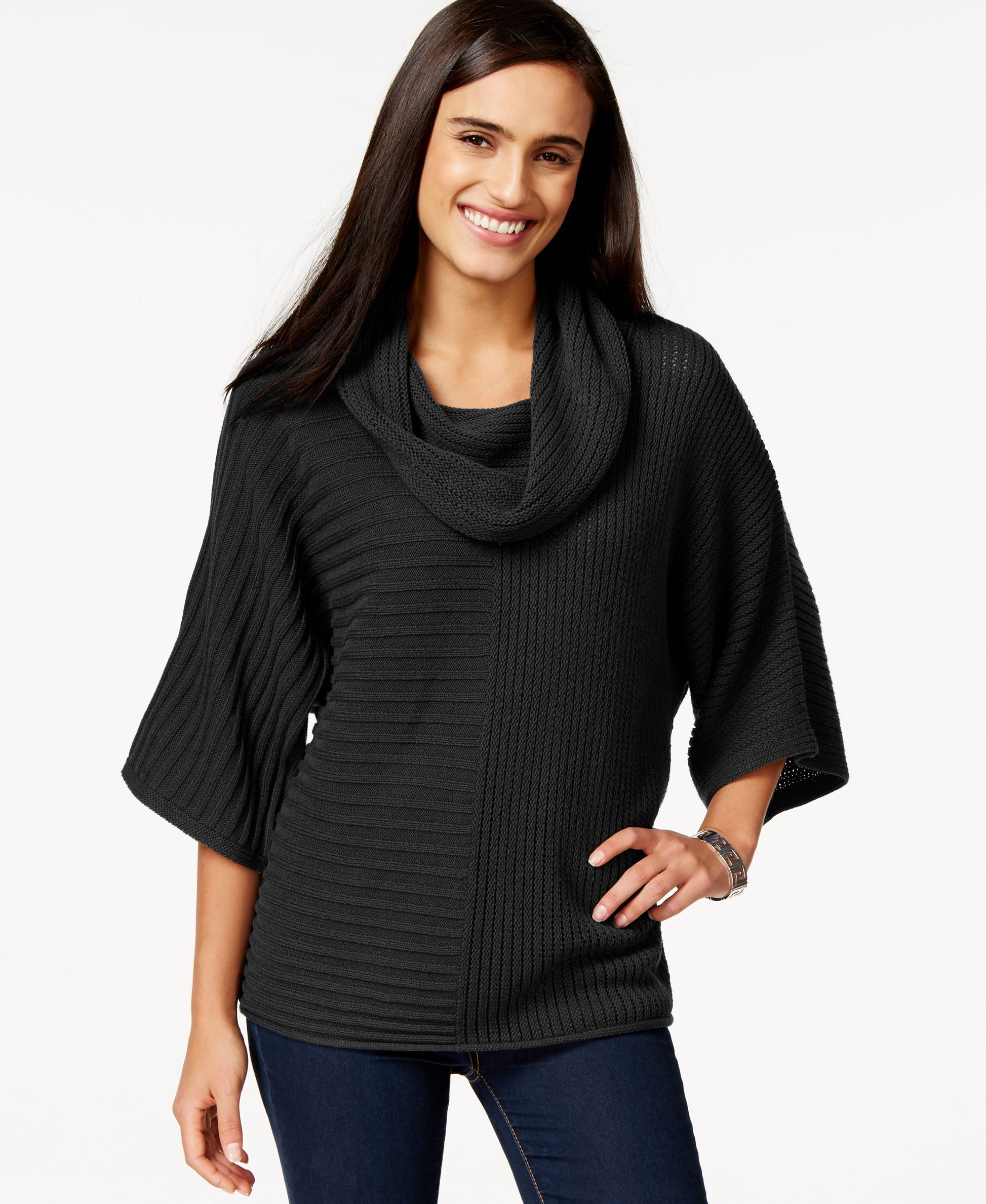Style & Co. Dolman-Sleeve Cowl-Neck Sweater, Only at Macy's ...