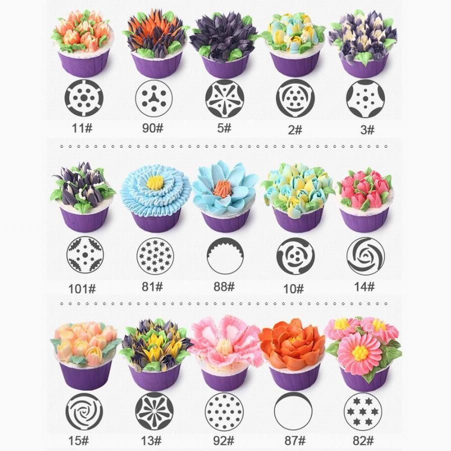 1lot 32pcs 32 Patterns Stainless Steel Icing Piping Nozzles Dessert Decorators Russian Pastry Tips Fondant Cup Cake Baking P10