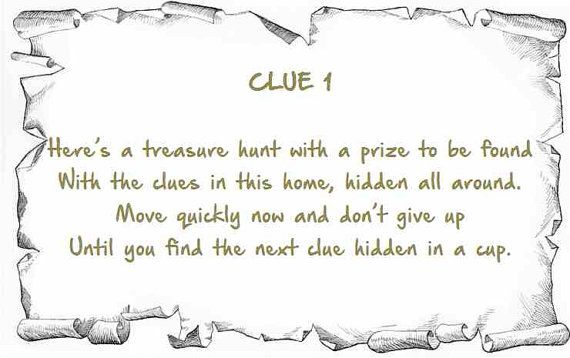 Indoor Rhyming Treasure Hunt Clues Scavenger Printable Etsy Treasure Hunt Clues Treasure Hunt Scavenger Hunt Clues