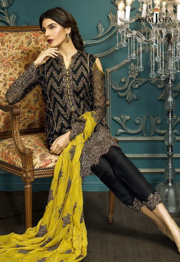 cff33050b0 Pakistani Fancy Dresses Asim Jofa Mysorie Chiffon Collection 2017-18 (11)