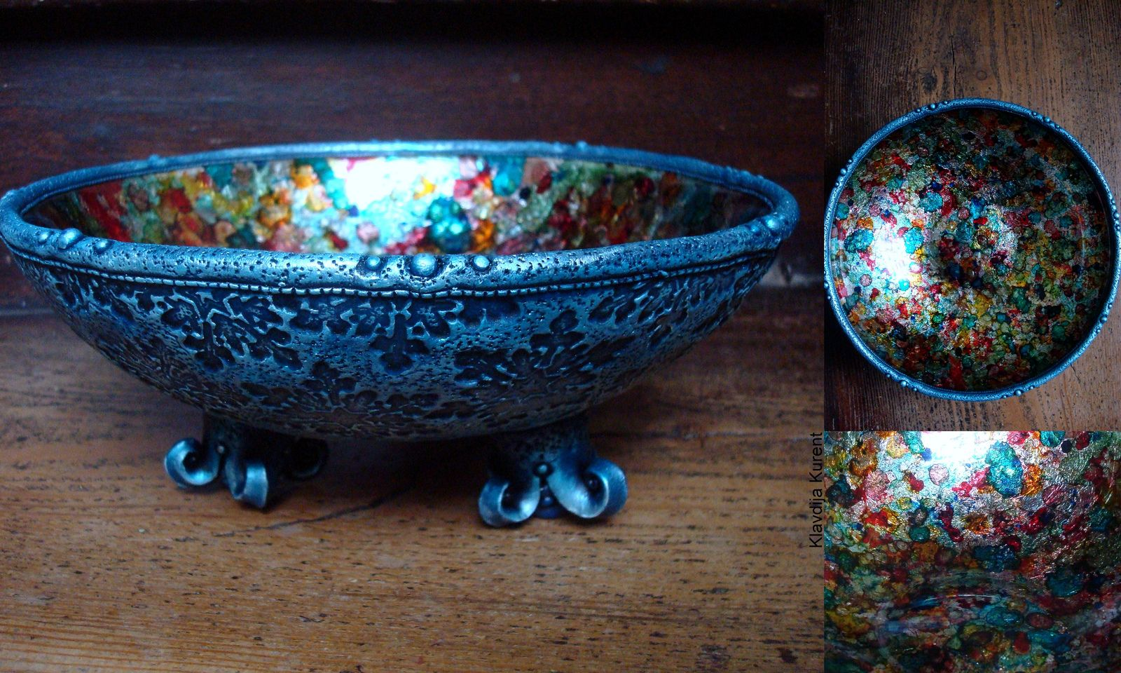 Mixed media- glass bowl(diameter 20cm), inks, Kato Polymer Clay | by Klavdija's corner