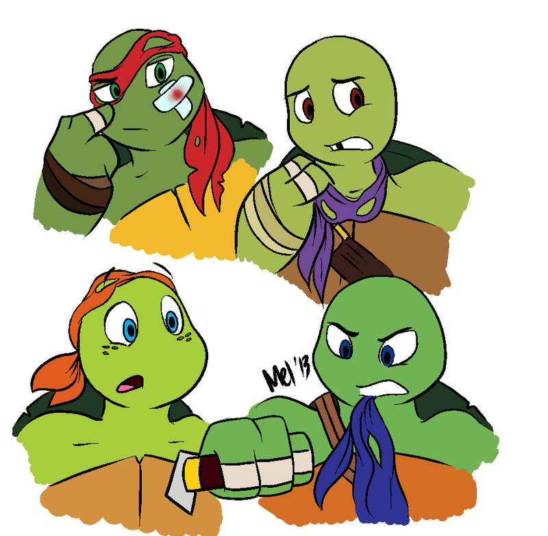 Uh is Leo stabbing Mikey