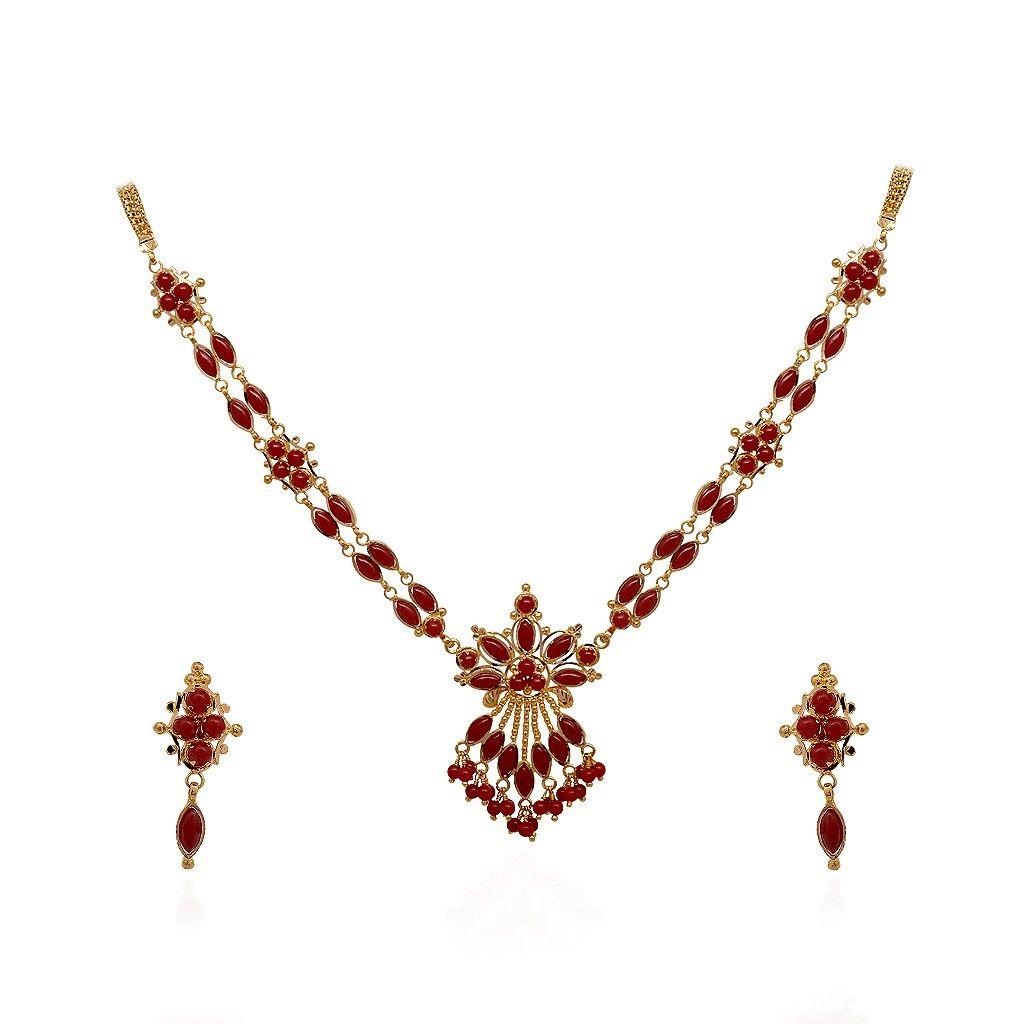 Elegant Designer Coral Beads Gold Necklace - GRT Jewels ...