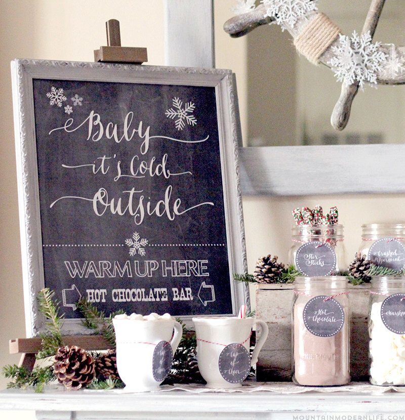 Baby it's Cold Outside - Hot Chocolate Bar Printable Kit, Christmas Printable, Christmas Digital Design, Winter Print, Hot Chocolate Bar Kit