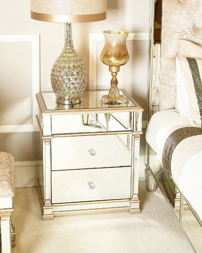 Mirrors Behind Bedside Tables: Liberty Mirrored Champagne Edge Bedside Table