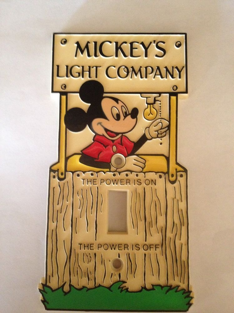 Vintage Mickey Mouse Light Switch Cover Plate Mickey\'s Light Company ...
