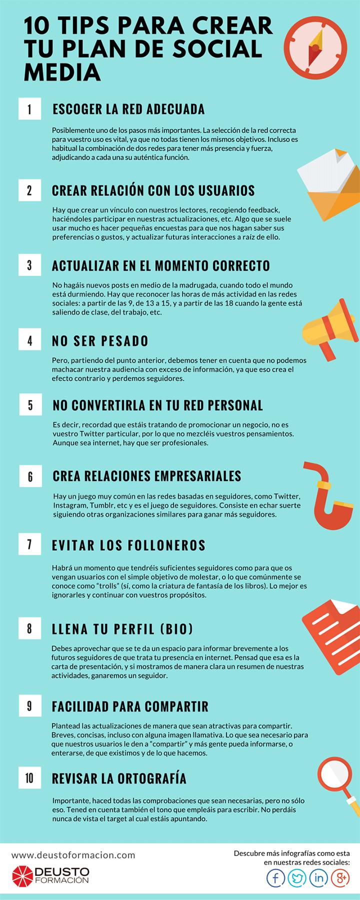 10 consejos para crear un Plan de Redes Sociales #infografia #infographic #socialmedia   TICs y Formación