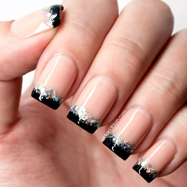 Nude With Black French Tips Holographic Glitter Accents Nail Art