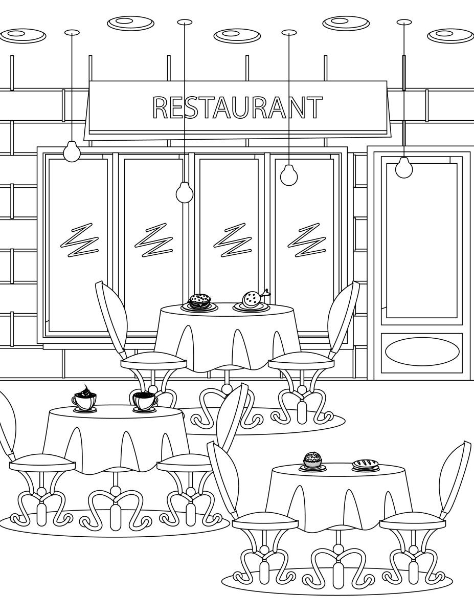 Dessin Restaurant imprimer coloriage tous au restaurant 2016 | coloring - rooms