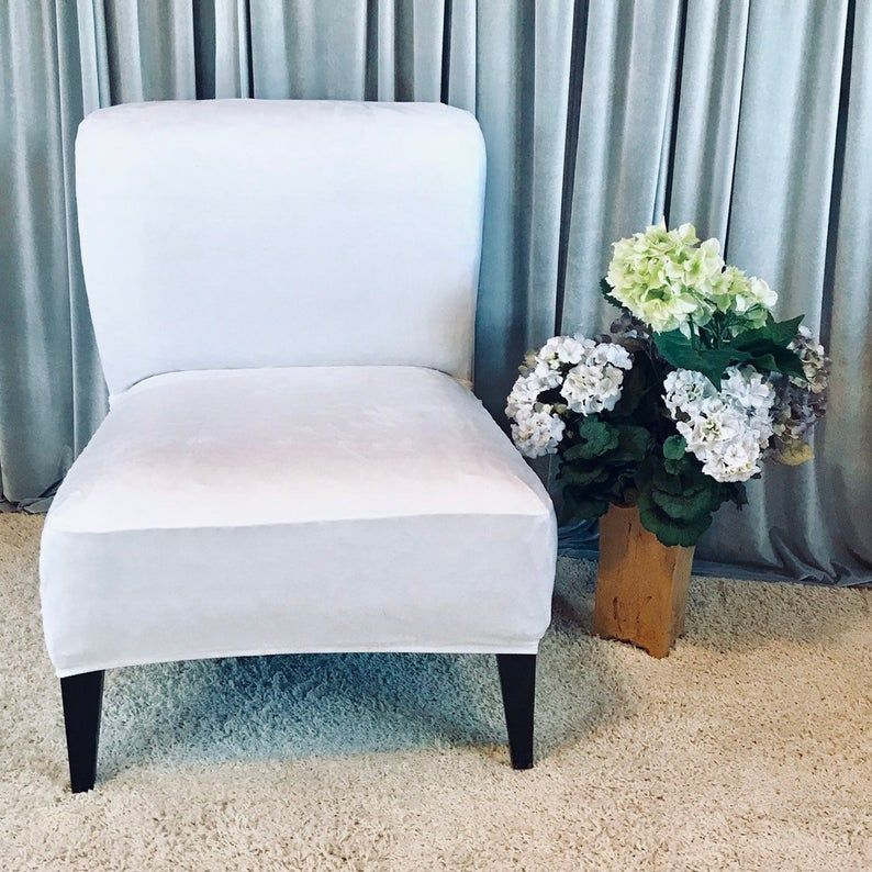 Slipcover White Suede Chair Cover For Armless Chair Slipper Chair