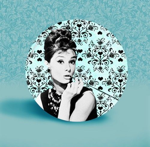 Audrey Hepburn with Altered Damask Background 2 1/4 by ButtonDivas