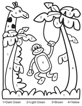Color By Number Jungle Coloring Page