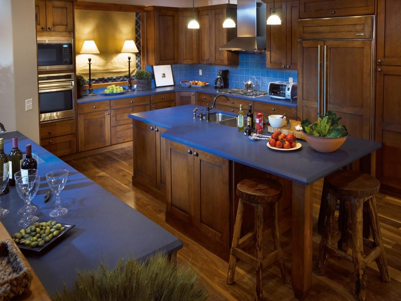 blue countertop kitchen ideas