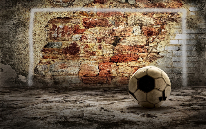 Download wallpapers street football, soccer, gate, wall