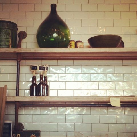 These may be PERFECT. #subway #tile, #reclaimed #shelves