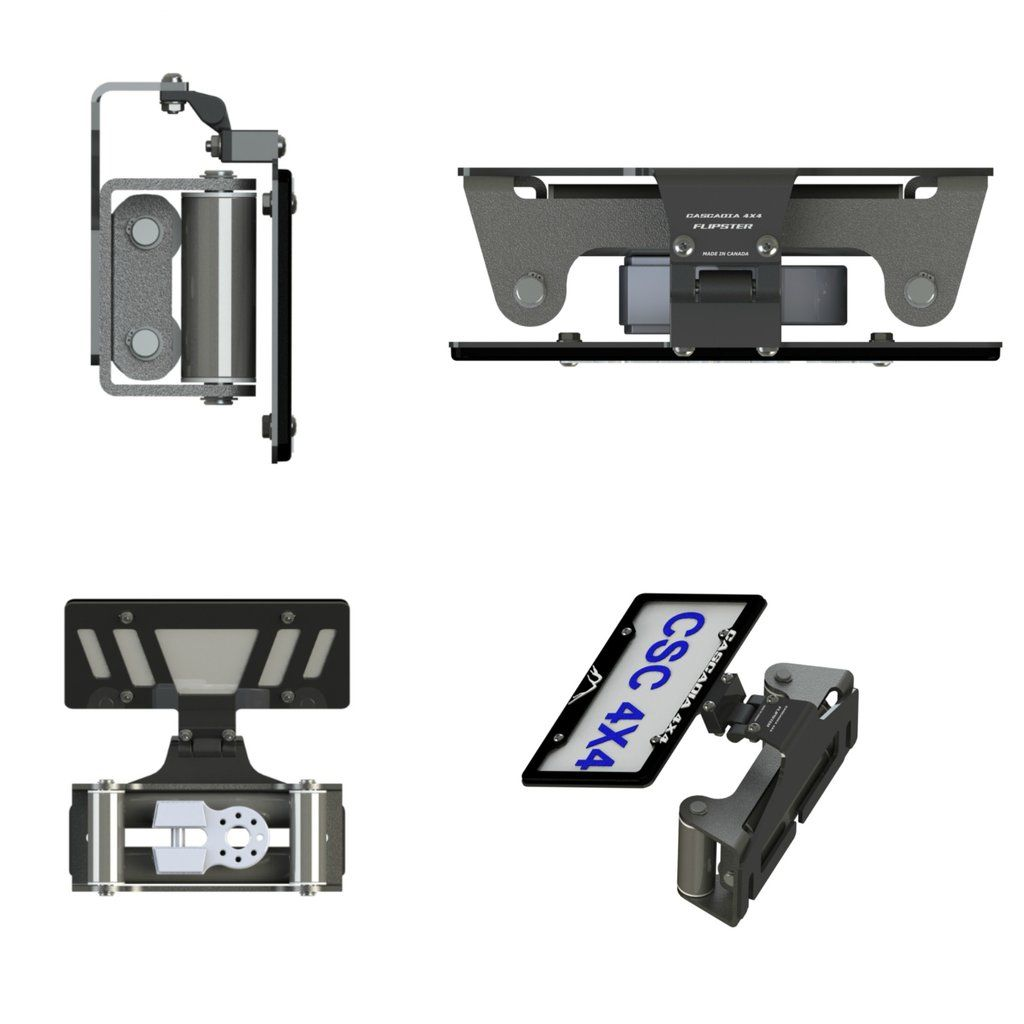 Hawse//Roller fairlead compatible Winch License Plate Mounting system Cascadia 4x4 Flipster V2 Made in Canada