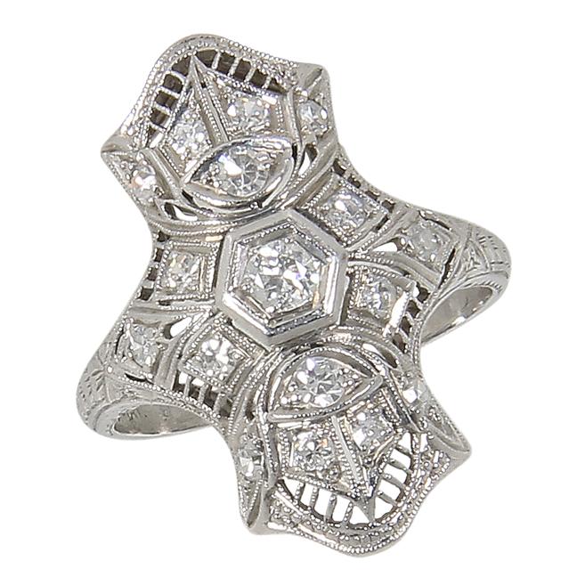 Beautiful Art Deco Platinum Filigree .35 Ct Diamond Navette Dinner from backintime on Ruby Lane