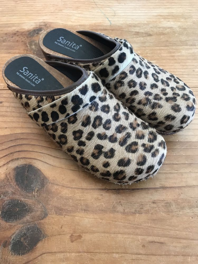 Leopard Print Danish Clogs