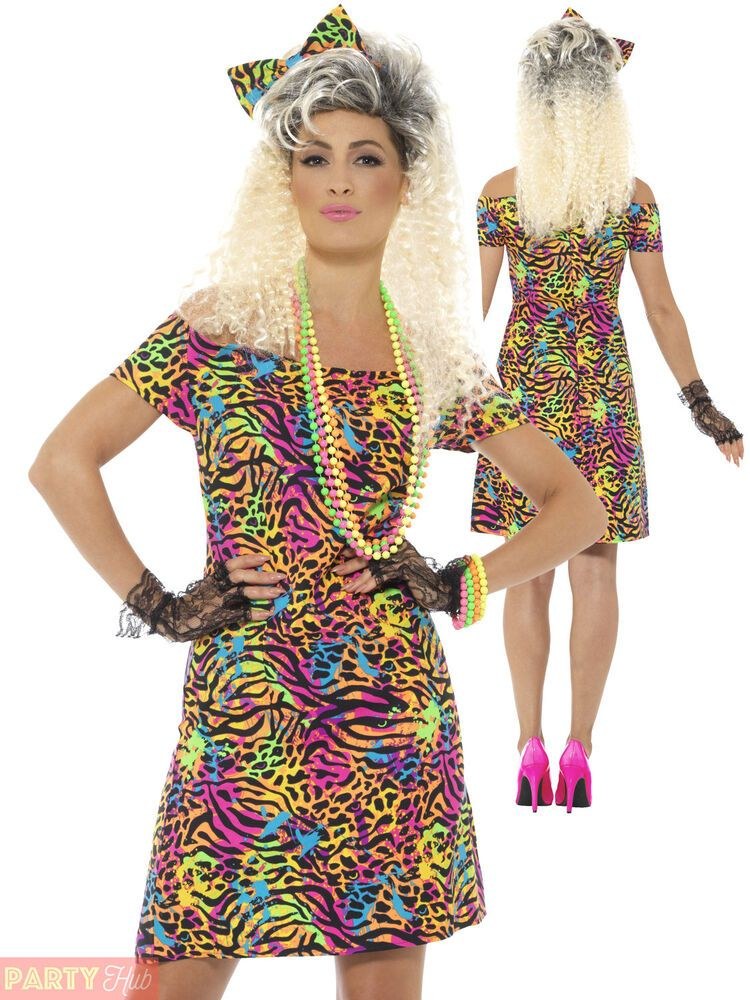 80s Party Animal Costume Neon Adult Womens Ladies Fancy Dress Outfit