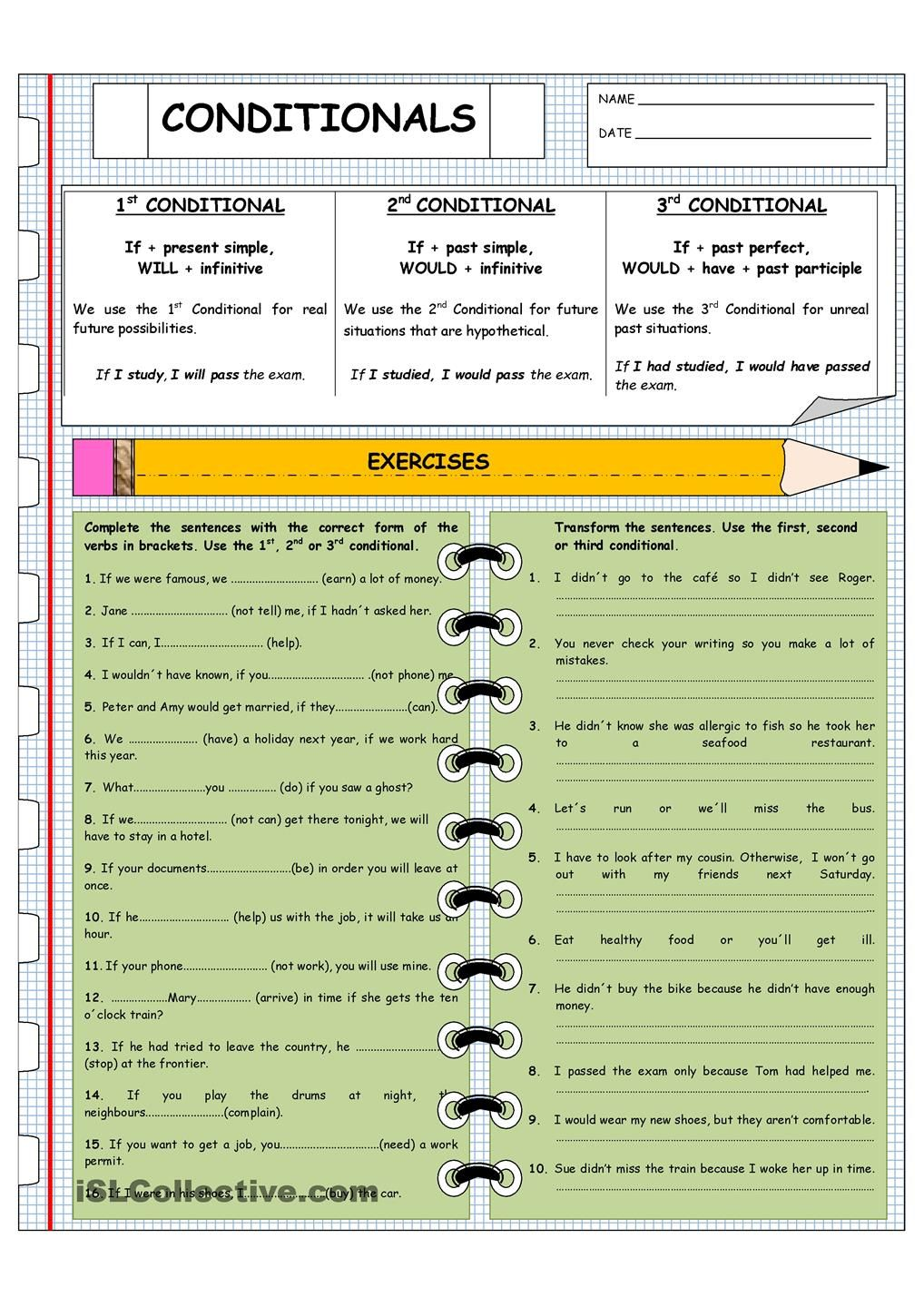 First Second And Third Conditionals English Lessons English Grammar English Grammar Worksheets [ 1440 x 1018 Pixel ]