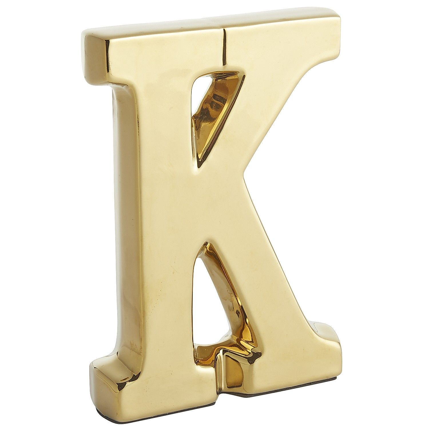 Monogram Ceramic Letter Gold K Earthenware Decor House