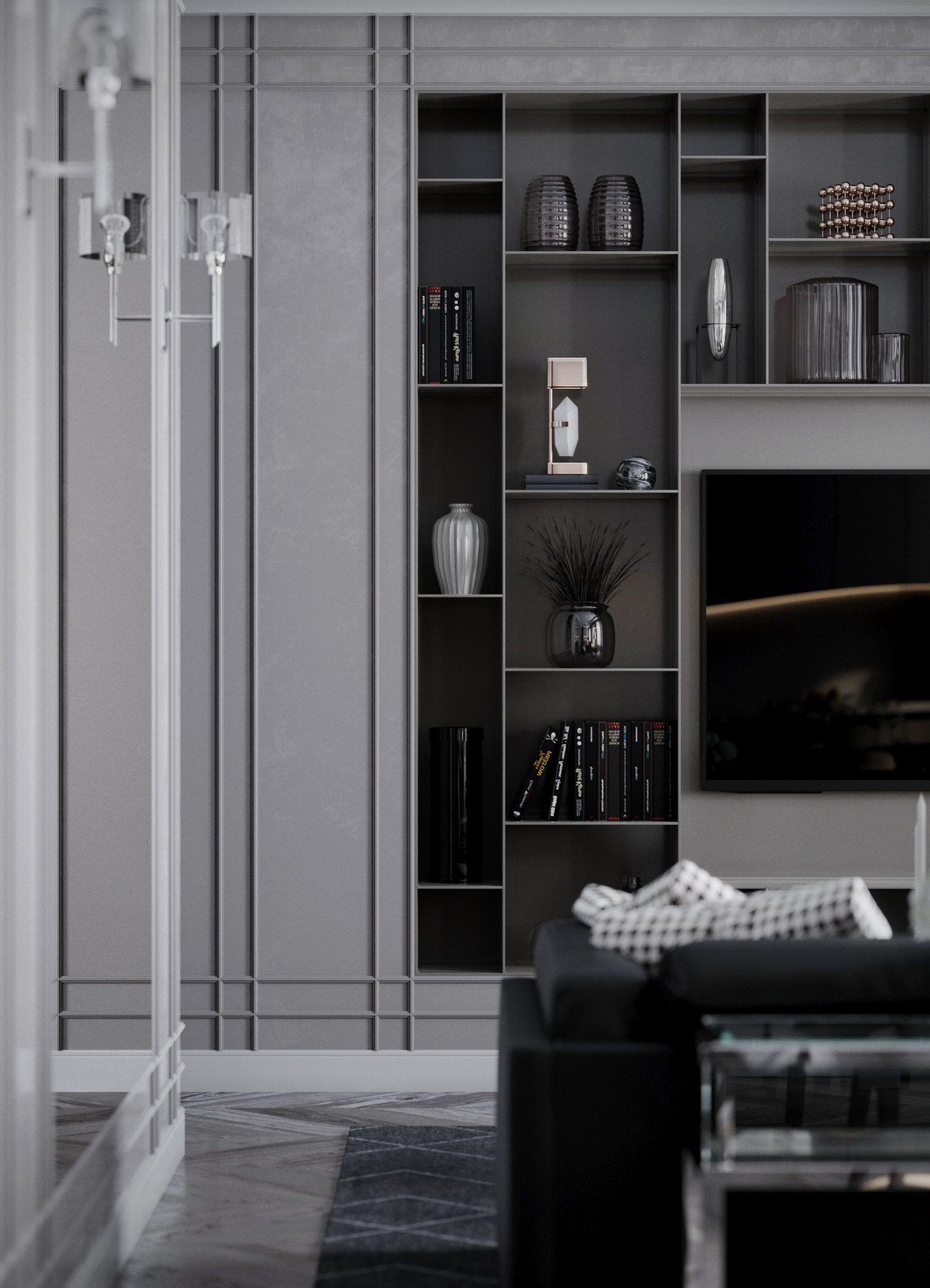 Small Living Room Storage Cabinet Living Room Kitchen Design Interior Vizual In 2020 Modern Grey Living Room Living Room Storage Cabinet Living Room And Kitchen Design