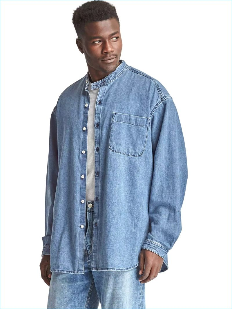Embrace the 90s with Gap's Archive Re-Issue granddad collar heritage denim shirt.