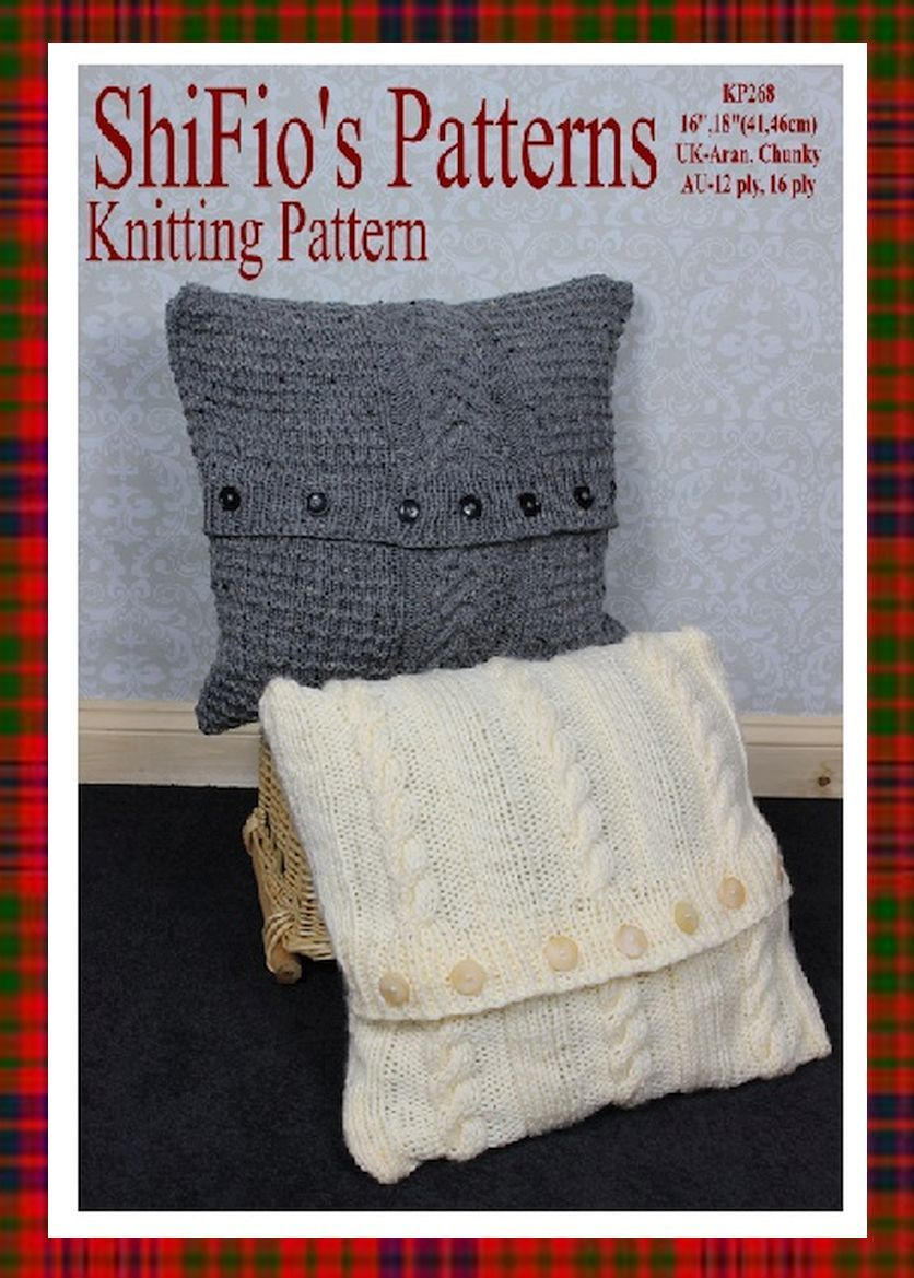 knitting pattern, KP268, one cushion cover in UK Aran, USA ...