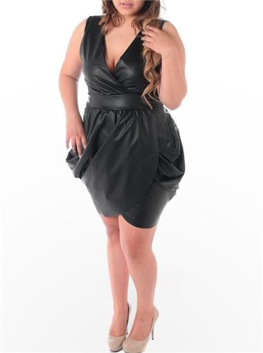 679fb3849bb Plus Size Sexy Leather Bubble Cocktail Dress http   www.plussizefix.com