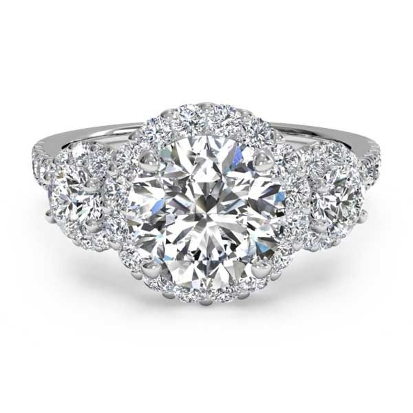 Ritani Round Diamond Three-Stone Halo Pave White Gold Semi-Mount Engagement  Ring. Ritani for Forevermark offers unique styles of diamond engagement  rings, ...