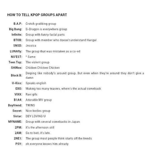 How To Tell Kpop Groups Apart Some Of These Are Pretty Accurate Kpop Groups Kpop To Tell