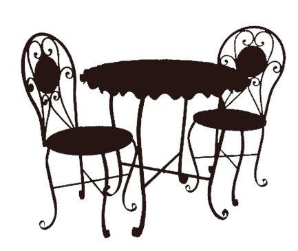 bistro cafe furniture set black clip art graphics image royalty ...