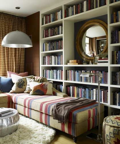 bookcase home library leave upper middle open for taller mirror rh pinterest com