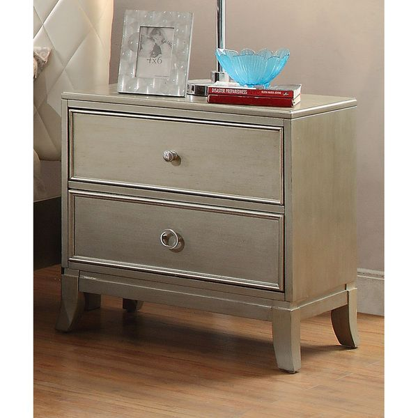 Furniture of America Estevia Contemporary Silver Grey 2-drawer Nightstand