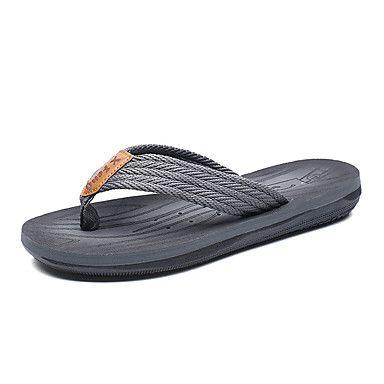 Hombre Zapatos PU Verano Confort Zapatillas y flip-flops Paseo Gris / Marrón / Azul S1Rjyza