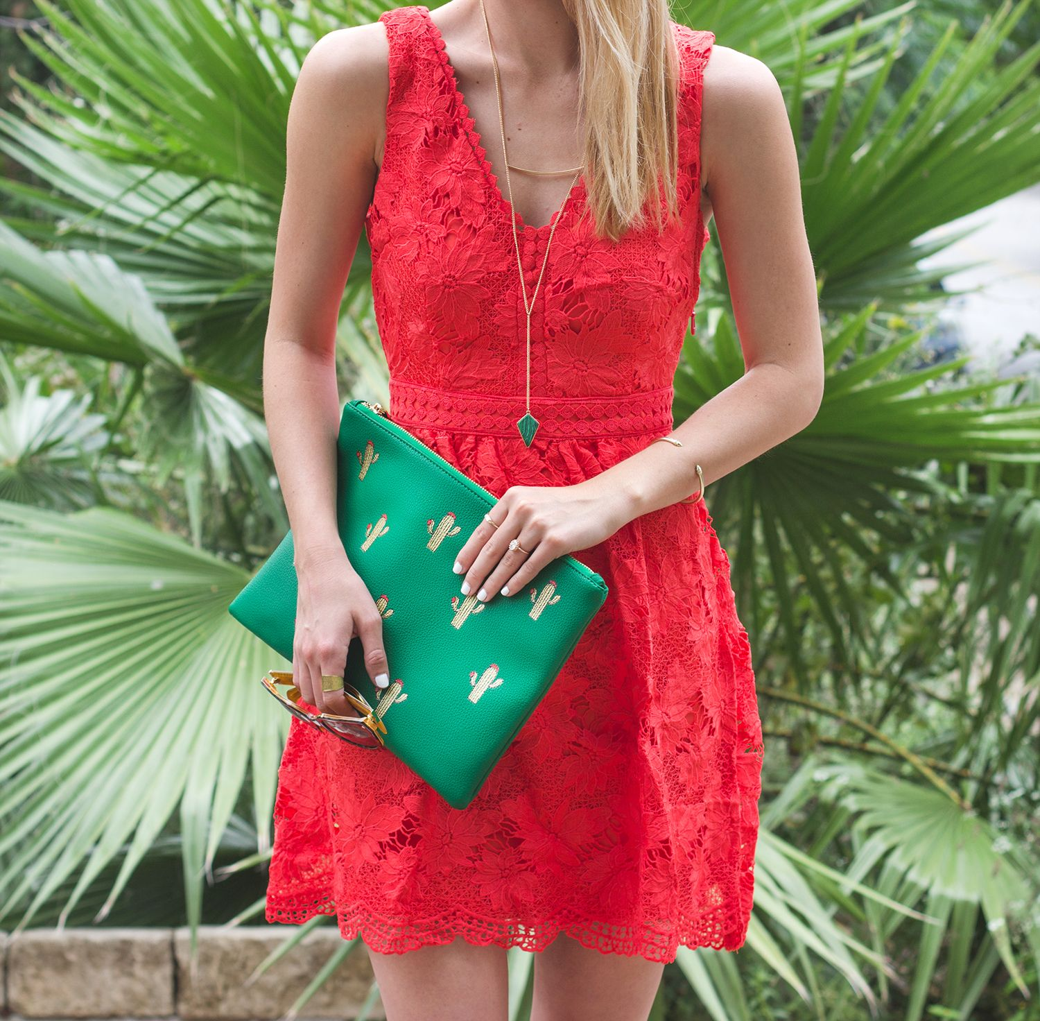 Cactus red cocktail dress