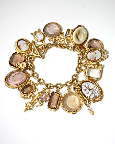 Vintage Style Bronze Charm Bracelet With Hairdressing Themed Charms Jewellery