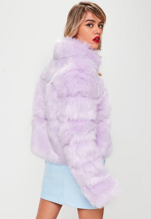 66fc66d0202 Lilac faux fur coat featuring long sleeves