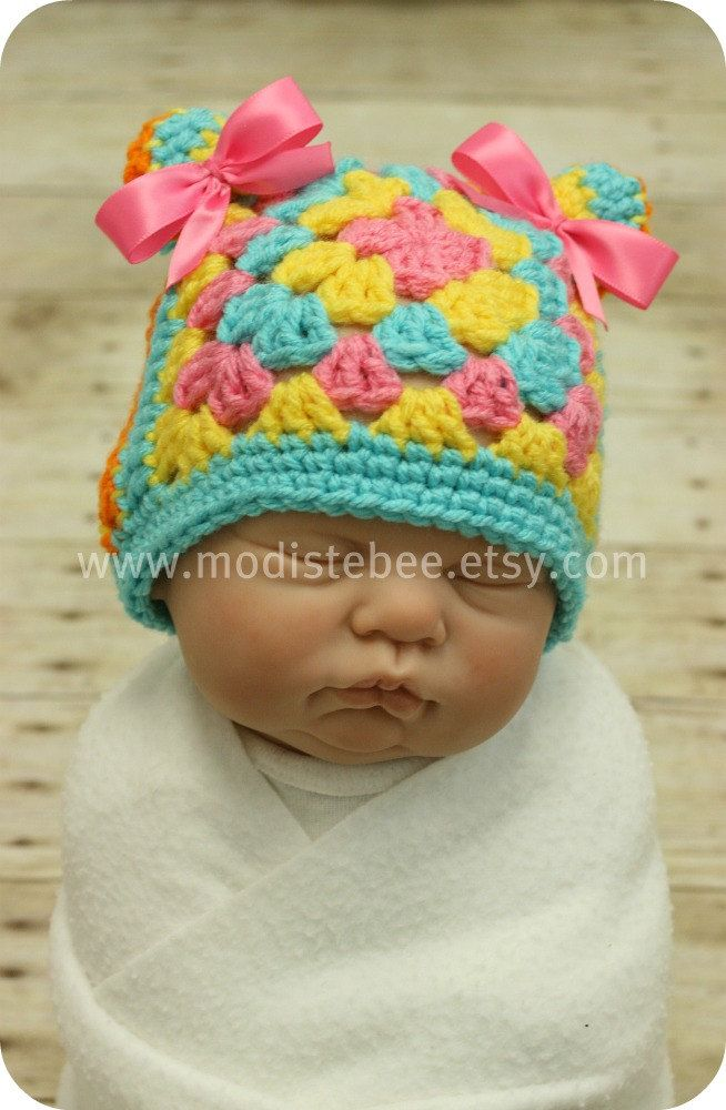 RTS Granny Square Hat (2 hats in 1) Boy/Girl photography prop. $16.00, via Etsy.