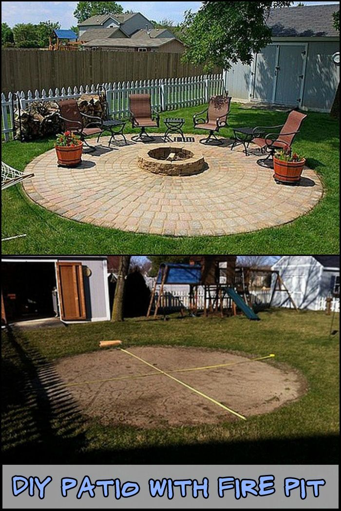 Diy Patio With Fire Pit Fire Pit Landscaping Fire Pit
