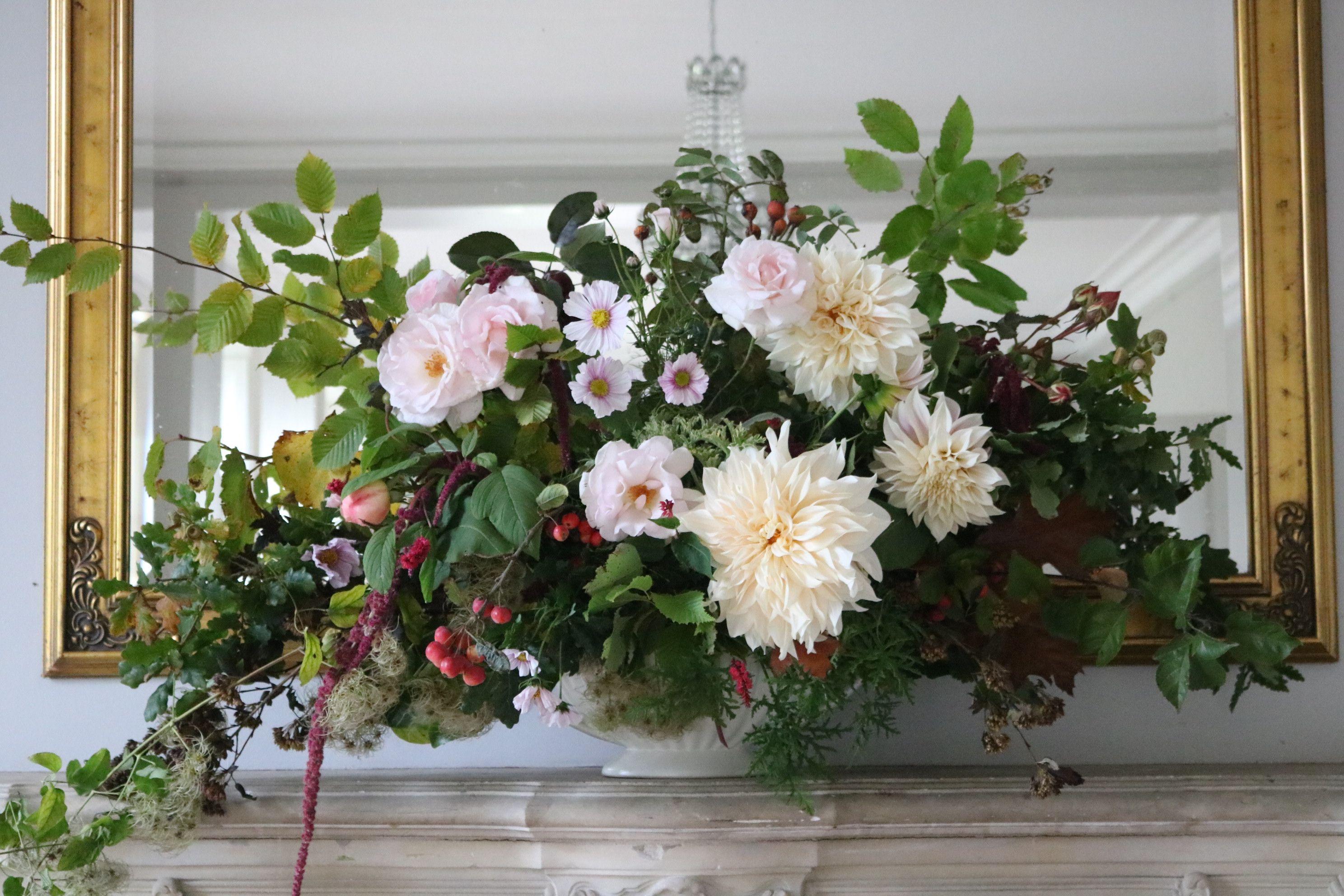 No Floral Foam Pedestal Vase Five Foot Wide Arrangement On The Mantlepiece At Sparkford Hall In Somerset For A Gorgeo Flower Farm Flower Farmer Flower Delivery