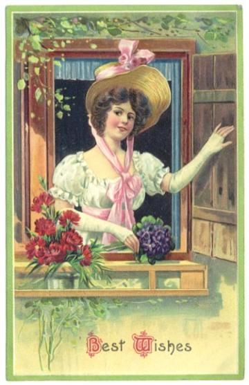 Vintage Greeting Postcard Beautiful Lady in Hat 1910s Best Wishes by SandyCreekCollectables for $8.00