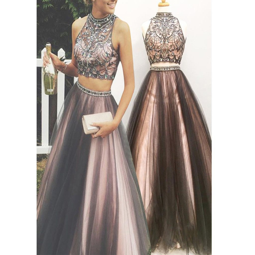 new two pieces vintage ball gown gorgeous long prom dresses