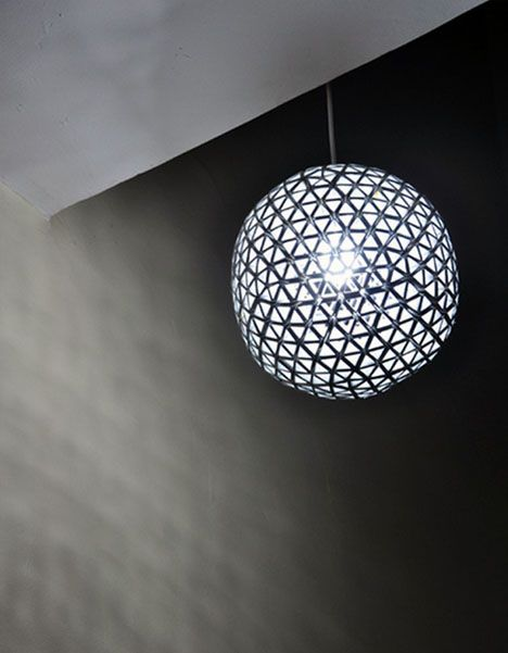 Geodetic Disco Ball Lamp Upcycled From Drink Bo