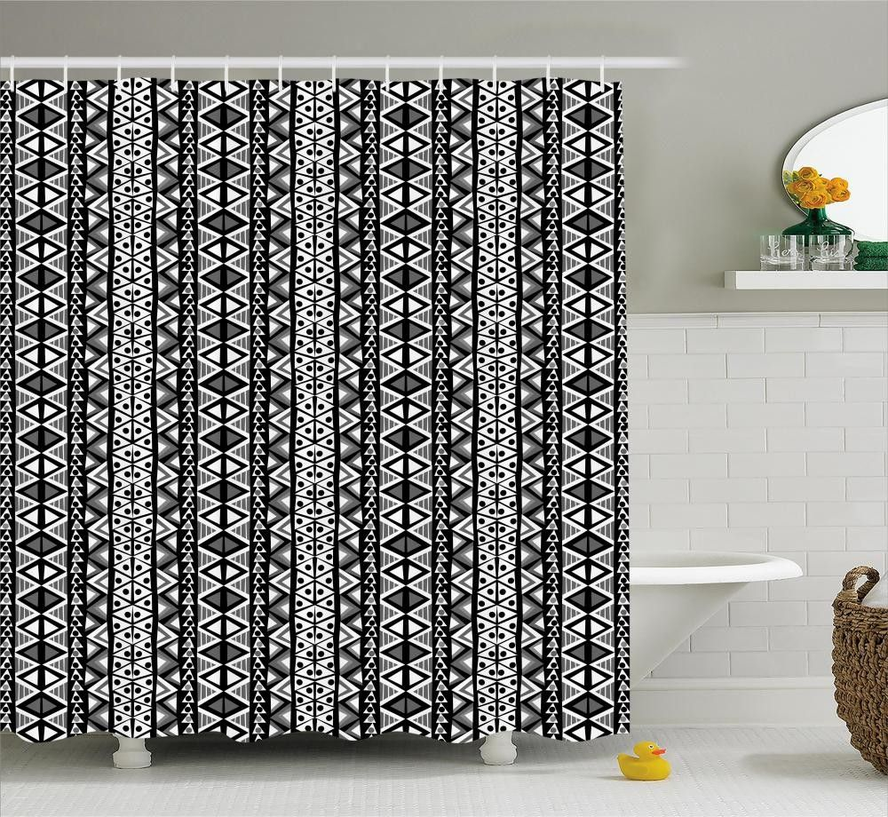 Boho Aztec Style Shower Curtain With Images Retro Shower