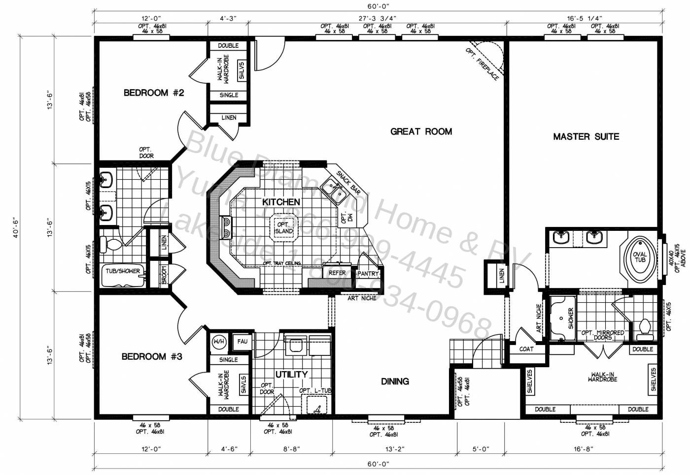 Triple wide manufactured home floor plans lock you for Double wide floor plans with basement
