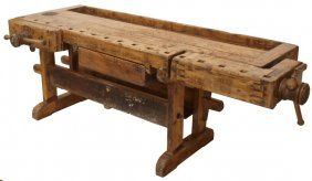 Antique Rustic French Mixed Wood Work Bench Jan 03 2010 Austin Auction Gallery In Tx Woodworking Bench Woodworking Workbench Workbench