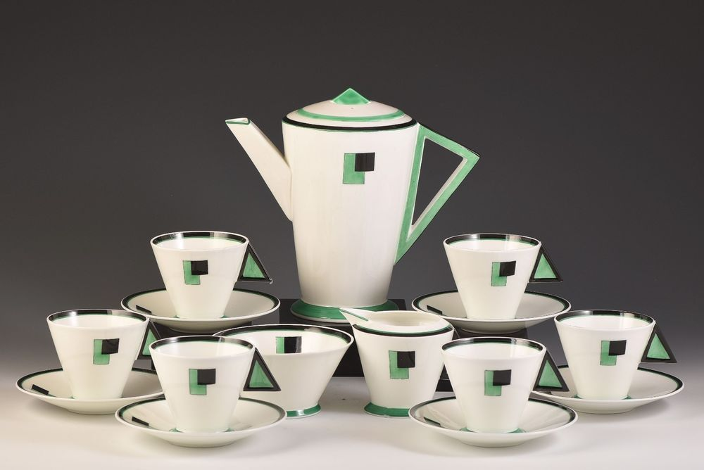 A rare and very hard to find complete Mode shape coffee set in Green Blocks designed by Eric Slater c.1930. All pieces ring perfectly. Shelley Green blocks coffee set C.1930. | eBay!