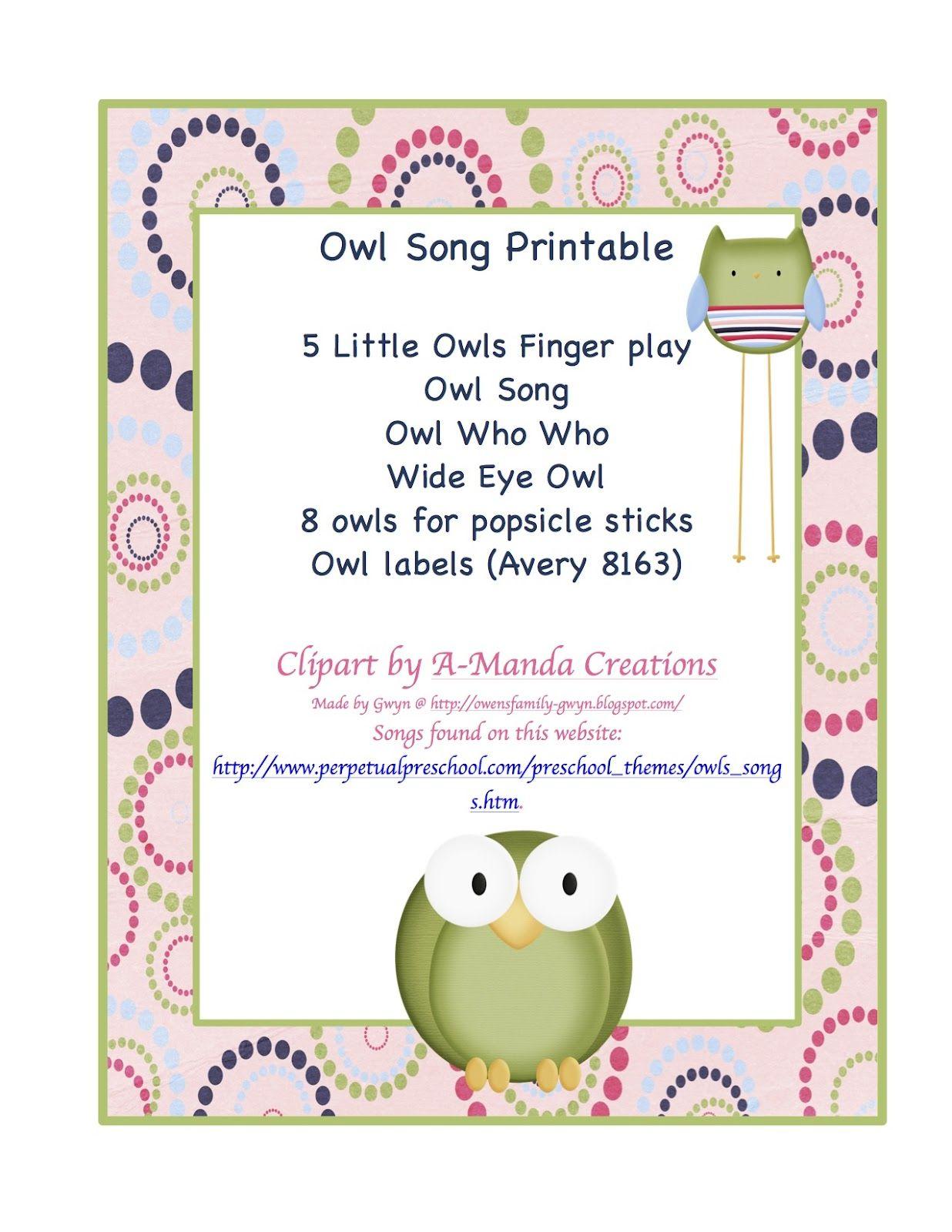 Preschool Printables Free Owl Songs Printable