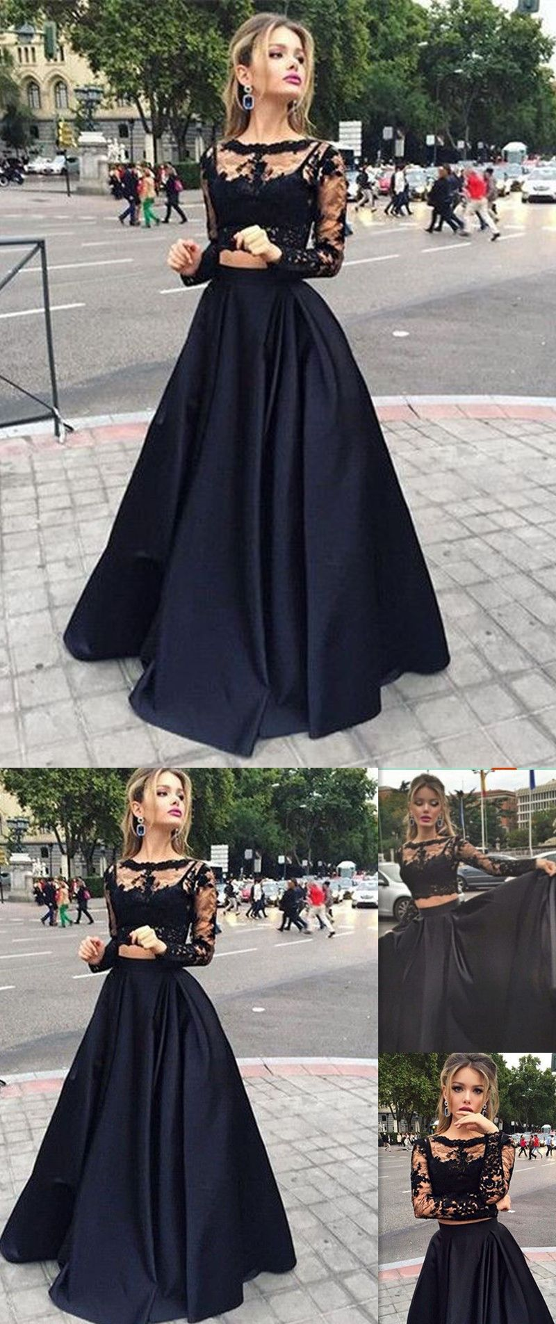 Long sleeves prom dresses black two pieces lace top and satin sheer